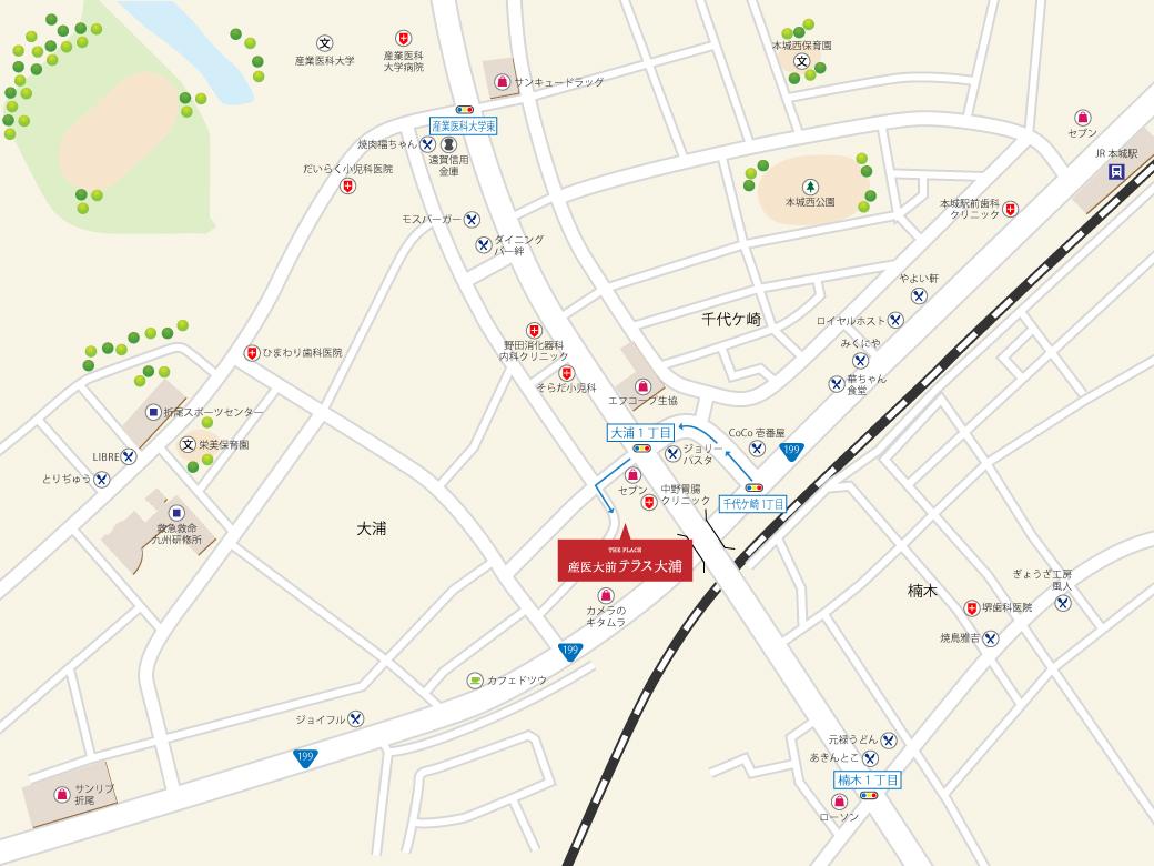 大浦テラス地図